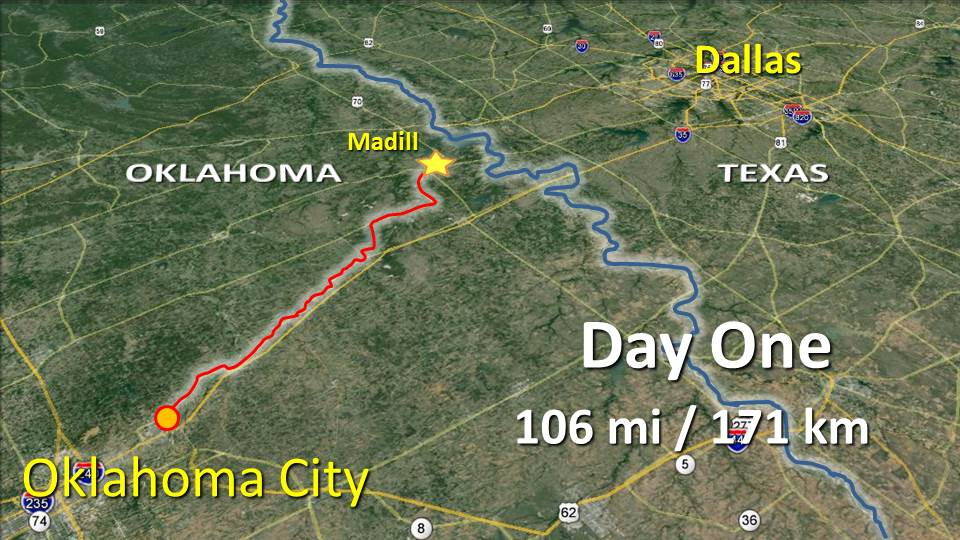Day One Cycling Trip – Oklahoma City OK to Madill OK – 106 mi / 171 km