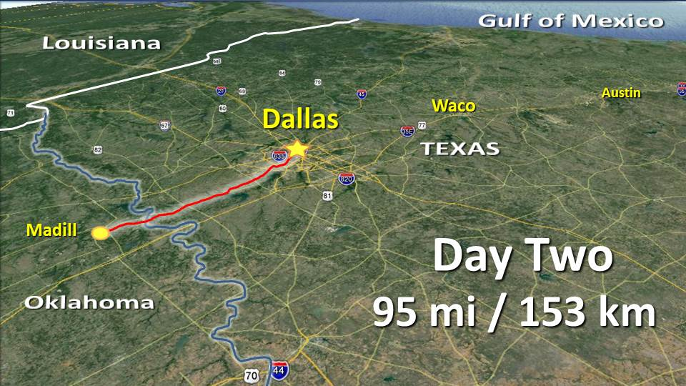 Day 2 – Madill OK to Dallas TX – 95mi / 153km