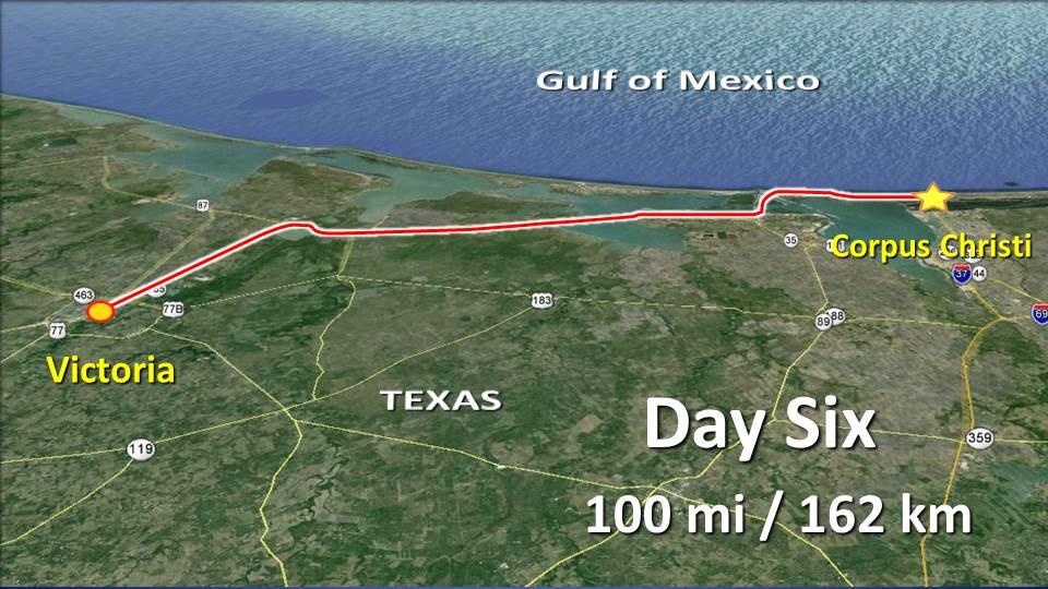Day 6 – Victoria to Corpus Christi – 100mi / 162km