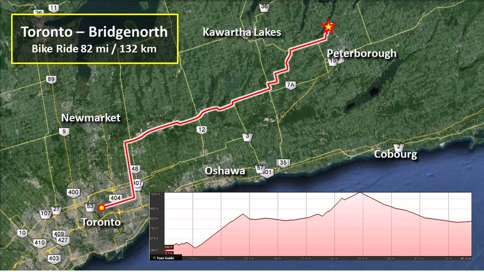 Saturday Ride – Toronto to BridgeNorth – 82mi/132km