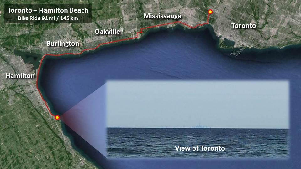 Toronto-Hamilton 91 mi / 145 km