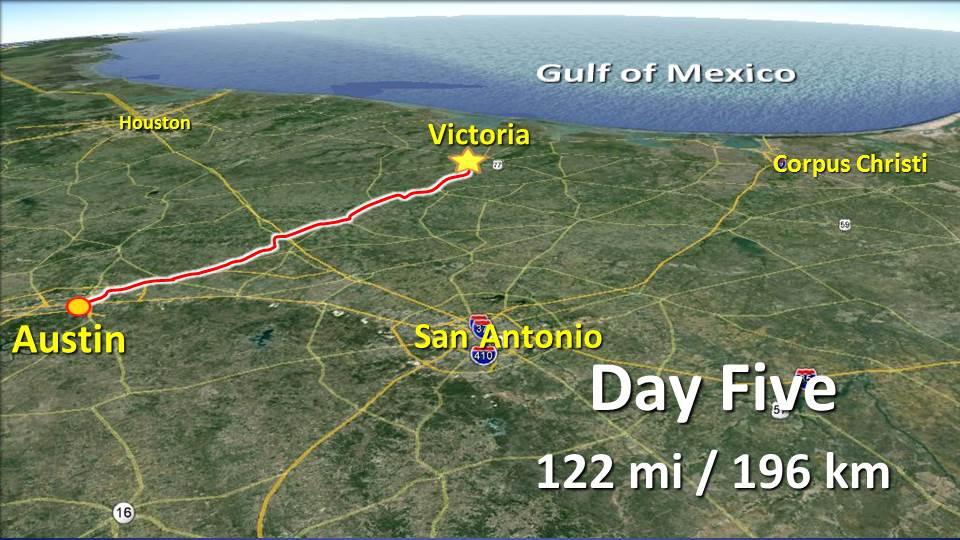 Day 5 – Austin to Victoria – 122mi / 196km by red bug