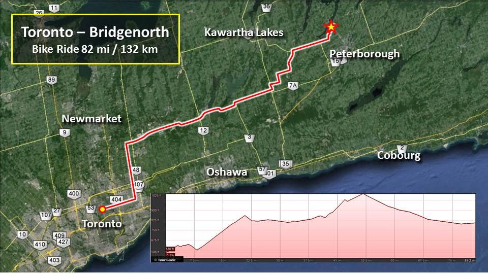 Saturday Ride – Toronto to BridgeNorth – 82mi/132km